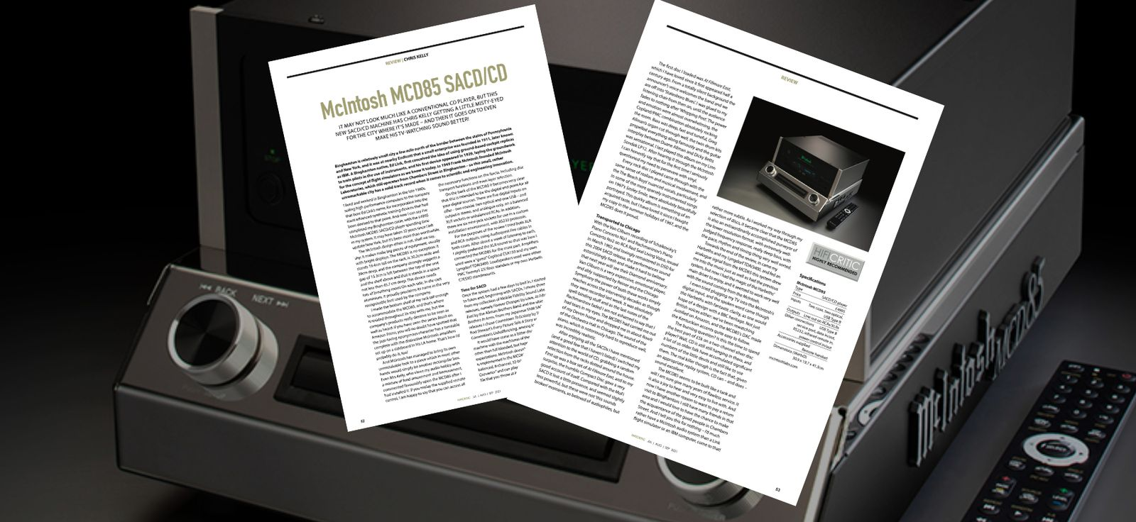HIFICRITIC reviews the new McIntosh MCD85 SACD/CD player